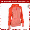 Latest Pattern Zip up Orangeplain Gym Hoodie for Women (ELTWGHI-17)