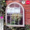 Rustic Grey Metal Frame Arch Garden Mirror