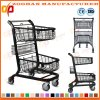 Black Coated Metal Supermarket Handling Metal Shopping Trolley Cart (Zht193)