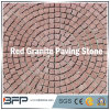Round Shape Red Granite Paving Stone - Meshed Cobble Stone for Outside