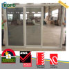 Wholesale Wood Color UPVC Plastic Sliding Door with Double Glass