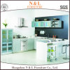 N&L Mintcream Color Moistureproof Open Shelf Glass Door Kitchen Cabinet