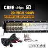 "LED Work Light Bar CREE 5D (20"", 144W, IP68 Waterproof)"