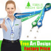 Custom Promotional Ribbon Lanyard with Retractable Plastic Badge Reel