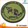 High Quality Garment Customize Round Bat Mexico Map 3D Soft PVC Magic Tape Patch Making