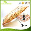 Hot Sale Cheaper Custom 3 Folding Orange Lattice Umbrella