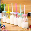 Mini Glass Milk Bottles for Pudding with Straw