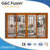 Internal Double Glazing Wood Color Aluminium Sliding Door