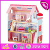 New Products Lovely Children Wooden Dollhouse Kits W06A100
