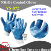 "Jersey Glove with Blue Nitrile Fully Coated & Open Back & Knit Wrist/ En388: 4221/ Size 8"", 9"", 10"", 11"" (YS-072)"
