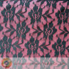 Black Nylon Elastic Lace Fabric with Rose Flower (M0435)