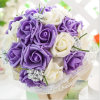 Wholesale 3 Colors Available Silk Flowers Roses Wedding Bridal Bouquet