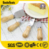 4 Pieces Set Cheese Knives with Bamboo Wood Handle Cheese Slicer Cutter