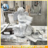 Gray Granite Cherub Carving Hand Crafted