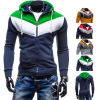 Hot Selling Spell Color Male Fleece Hooded Sweater Coat
