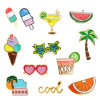 Ice Cream Watermelon Orange Fruit Juice Coconut Tree Sunglasses Brooches