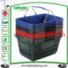 Supermarket Plastic Stackable Hand Shopping Basket with Double Wire Handles