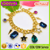 Fashion Lady′s Austrian Sapphire Crystal Charm Bracelet/Golden Plated Crystal Rosary Bracelet