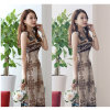 Cotton Beach Casual Maxi Dress Ice Silk V-Neck Bohemian Dress