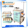 Classic Hospital Plastic Emergency Crash Resuscitation Trolley, Medical Cart with Wheels (GT-QET3101)