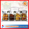 Glass Spice Bottle Container Set with Metal Rack