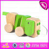 2015 Educational Cute String Wooden Dog Pull Toy, Wooden Dog Pull Along Toy for Toddlers, Hot Sale Wooden Animal Pull Toy W05b099