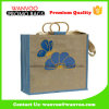 Environment Protection Jute Burlap Grocery Tote Bag with Wooden Handle