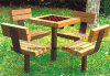 Park Bench, Picnic Table, Cast Iron Feet Wooden Bench, Park Furniture FT-Pb037
