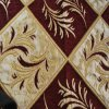 Leaf Pattern Chenille Upholstery Fabric by Red Color