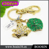 Rich Gold Custom Metal Made Living Animal Frog Keyring #15941