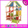 2015 Beartiful Princess DIY Kids Wooden Doll House, Pretend Play Toy Child Wooden Doll House, Fashion DIY Wooden Toy House W06A108