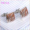 VAGULA Rosewood Gemelos Stainless Steel Red Wood Cufflinks 359