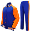Button up Cotton Plain Men Baseball Jackets with Pants, Sportswear Suit