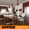 Modern Brown Wood Melamine Modular Kitchen Cabinet with Island (OP15-M08)