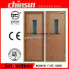 Wooden Fire Door with Fire Glass, Push Bar, Closer