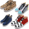 Gneuine Leather Leopard Print Grid Strip Flat Leisure Shoes