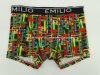 Various Color Reactive Print Cotton Men′s Boxer Brief Underwear