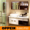 Oppein Modern Tempered Glass Wooden Bathroom Vanity (OP15-121A)