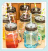 16oz Embossed Glass Mason Jars with Handles and Lids Straw