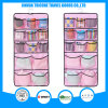 Transparent PVC and Non-Woven Dots Printed Hanging Pocket Organizer Storage Bag