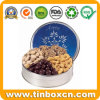 Round Gift Metal Tin for Food Chocolate Cookies Biscuits Nuts