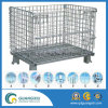 Warehouse Storage Folding Stacking Steel Wire Mesh Container with Wheels