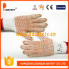 Ddsafety 2017 Natural Cotton with Polyester String Knit Orange PVC Dots Gloves