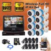 4CH HD 720p IP Camera NVR Wireless Outdoor CCTV Kit 10.1 Inch Screen