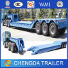 3 Axles 60 - 100 Ton Hydraulic Collipsible Gooseneck Low Bed Semi Trailer
