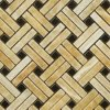 Honey Onyx Basketweave with Black Dots Mosaic Tile