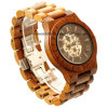 Men′s Skeleton Wooden Watch with Mechanical Movement