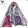 Fashion Spring Autumn Colorful Geometry Printing Pure Silk Satin Scarf