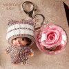Preserved Flower Monchhichi Keychain for Gift