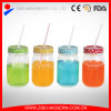 Wide Mouth Clear Small Glass Mason Jars with Colored Lids and Straws